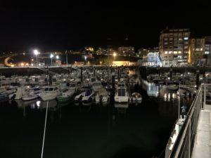 Inner marina at night.